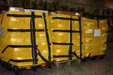Pallet Wrapz in action. Reusable pallet wraps can be configured for various applications.