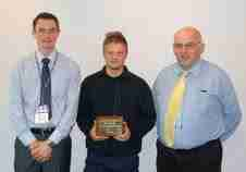 Pictured left to right; Mid Cheshire College Assessor Keith Wylie; Apprentice of the Year Jack Hodgkinson; and Pat McNally, Schoeller Allibert.