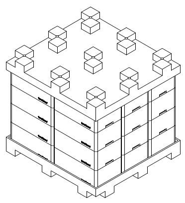Figure 3:  Stacking and nesting feature of this Major Medical OEM TransGuard tote was designed to lock tightly to prevent dirt and debris from getting into the parts.