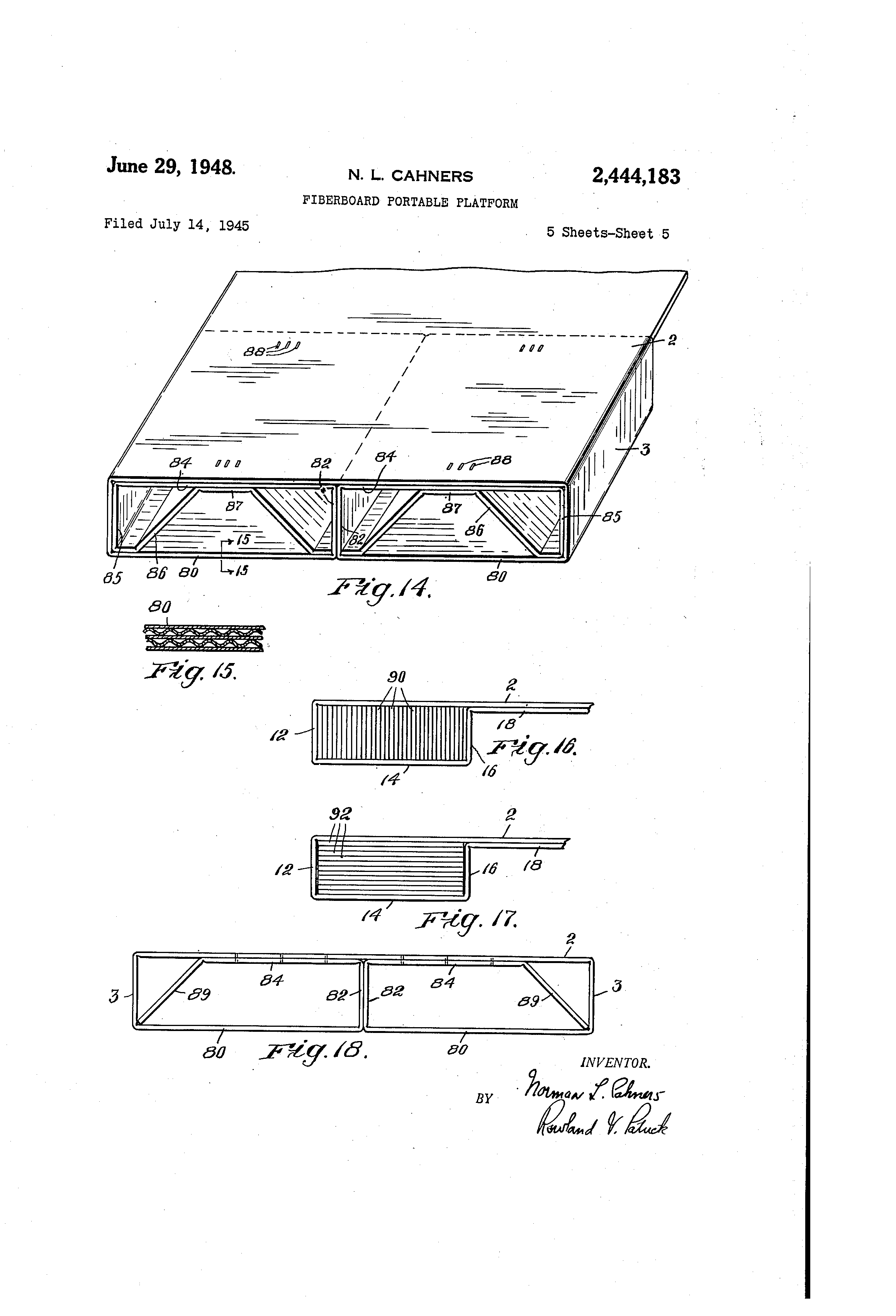 Norman Cahners filed a patent for a paper pallet in 1945.