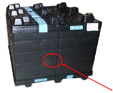 Figure 3: Stacking and nesting feature of this Major Medical OEM's TransGuard tote was designed to lock tightly to prevent dirt and debris from getting into the parts. Totes stack four per layer, 5 layers tall, for 20 totes (or 320 components) per unit load.