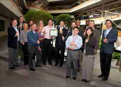 The Toyota team receives the EPA WasteWise award at the national headquarters in Torrance, Calif., on Sept. 17, 2013.