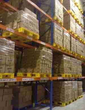loscam plastic pallets racked