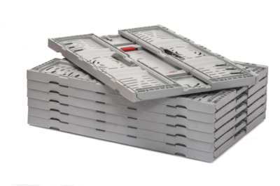 The space saving benefit is clear to see when folded in a stack the GoFold Twistlock box dramatically increases vehicle fill on return transit
