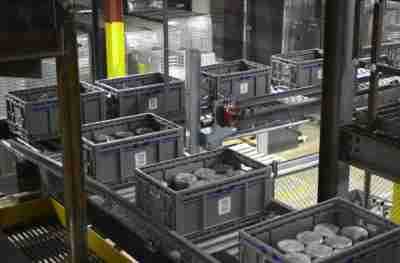 ORBIS mini-load totes in an automated system