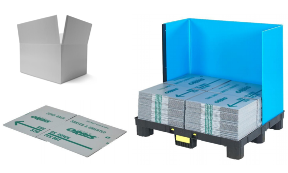 Plastic corrugated packaging can be flattened to provide a substantial return efficiency.