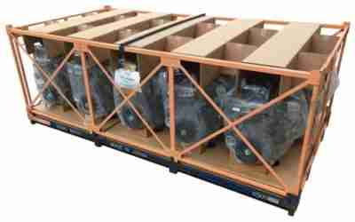 steel shipping rack, reusable packaging