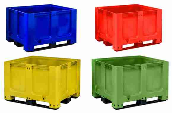 Goplasticpallets.com's GoBox 1210 BBCJ rigid pallet box is available from stock in four striking colours – blue green red and yellow. e1515508309782