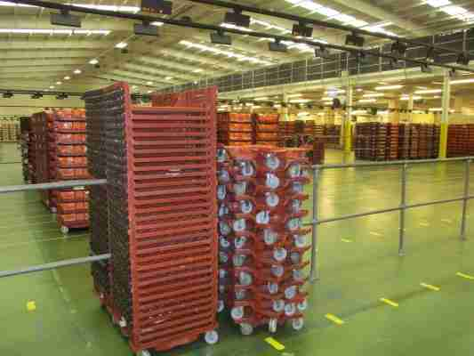 Optimized Basco trays and dollies stacked